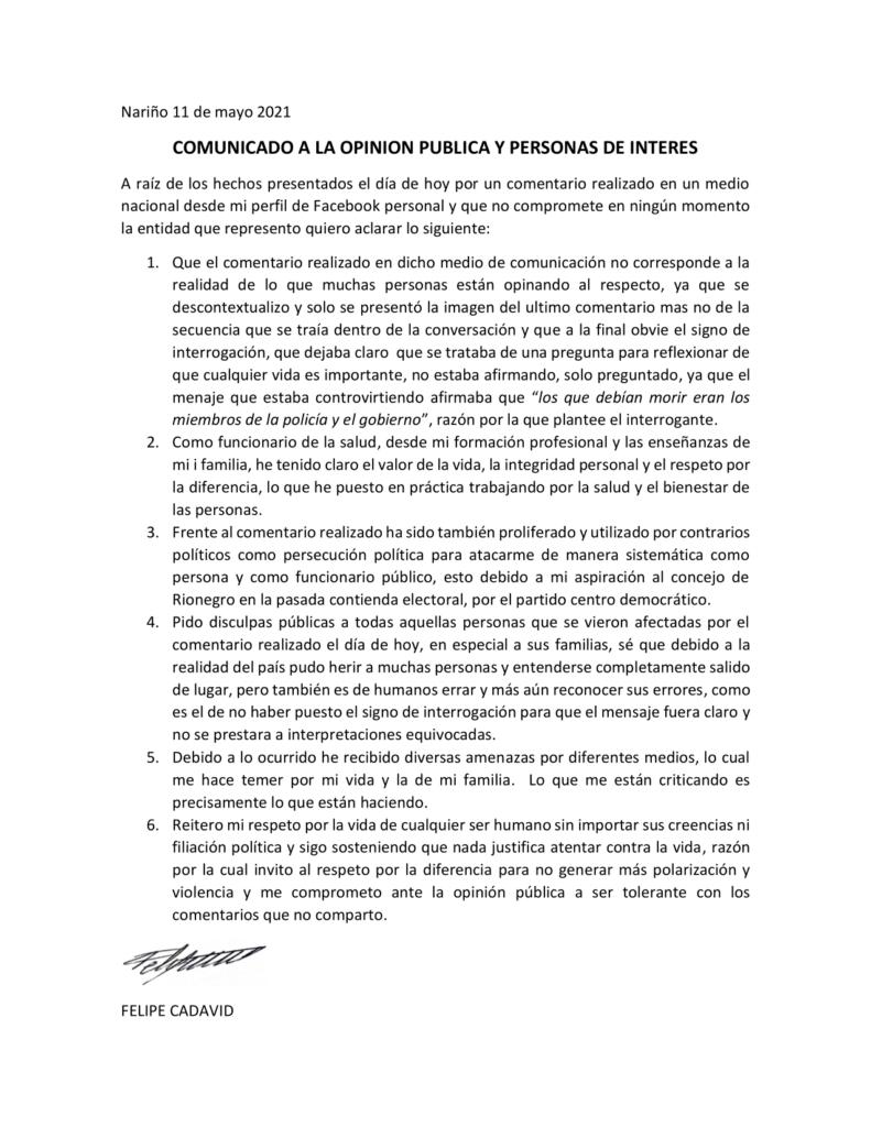 COMUNICADO A LA OPINION PUBLICA COMUNICADO A LA OPINION PUBLICA